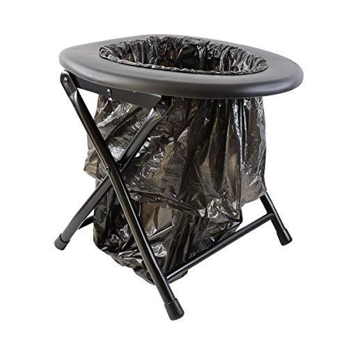 Keepa Inodoro plegable para camping, color negro, incluye bolsas de basura y práctico anillo de fijación.