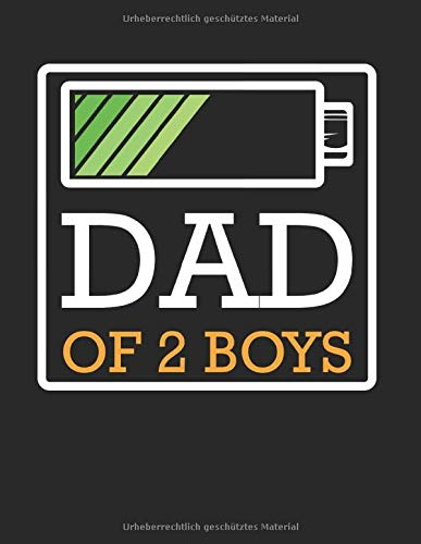 Dad Of 2 Boys Geringe Batterie Werdender Vater: A4+ Softcover 120 beschreibbare karierte Seiten | 22 x 28 cm (8,5x11 Zoll)