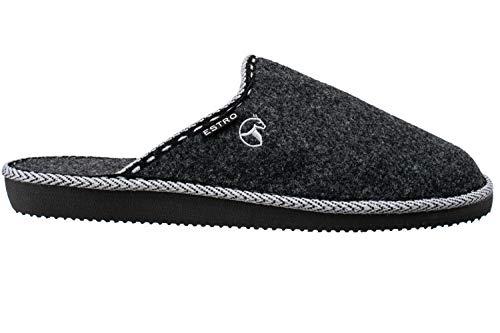 ESTRO Zapatillas De Casa Hombre Zapatillas Fieltro Pantuflas Casa Hombre F14 (Negro, 43)