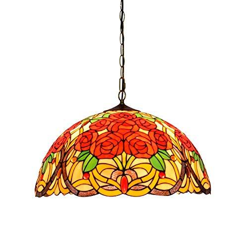 GUOSHUCHE Lámpara de araña estilo Tiffany magnífica rosa vidriera techo colgante luz 50 cm luces Tiffany estilo colgante luces decoración