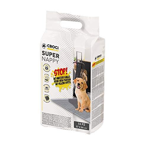 CROCI SUPER NAPPY, Tappetino Ultra Assorbente con Carbone Attivo, Anti Odore, Anti Macchia, Set di 14 unità, Formato 84x57