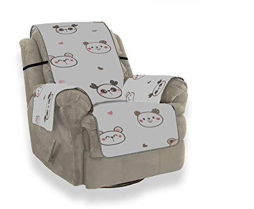 LMFshop Chinesische Panda Kaninchen Tier Sofa Cover Protector Hussen Für Esszimmerstühle Hussen Für Ohrensessel Möbel Protector Für Haustiere Kinder Katzen Sofa