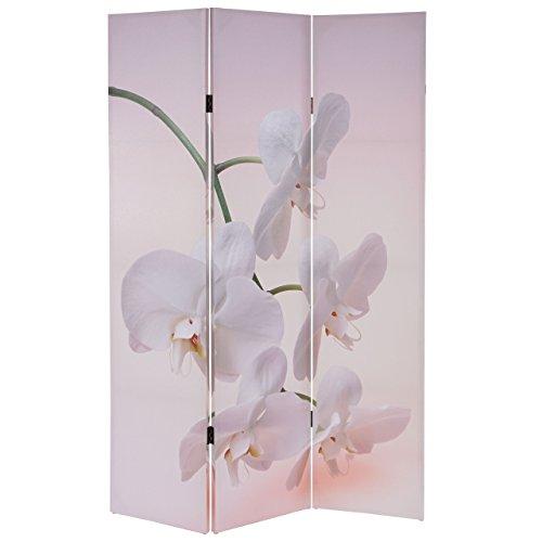 Mendler Foto-Paravent T233, Paravent Raumteiler Trennwand 180x120cm ~ Orchidee