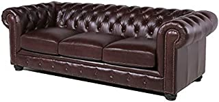 BOWERY HILL Leather Chesterfield Sofa in Brown