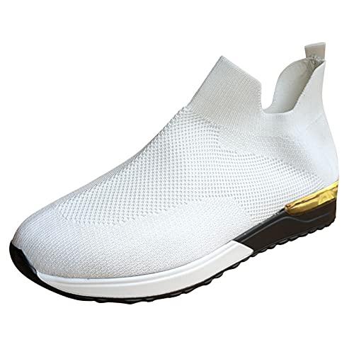 Femmes Chaussures de Course Marche Sport Casual Athlétiques Sneaker Confortable Respirante Fitness Tennis légères Entraînement Baskets sans Lacets