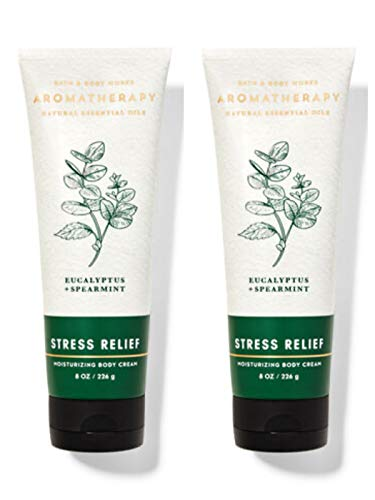 Bath & Body Works Aromatherapy Stress Relief Eucalyptus Spearmint Body Cream 8.0 oz, 226g (2 Pack)