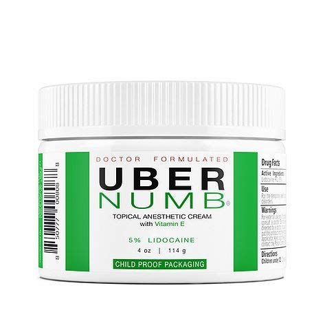 Uber Numb 5% Lidocaine Topical Anesthetic Cream Advanced Formula Rapid Absorption Non-Oily (4 Ounce (NCR))