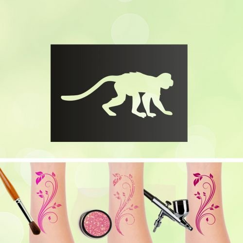 Tattoo Schablonen Affe Selbstklebend Kinderschminken Airbrush Größe 1 Stk