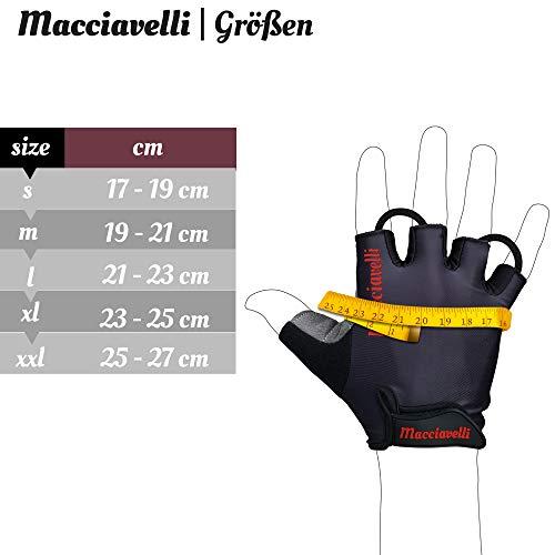 MACCIAVELLI Fahrradhandschuhe Radsporthandschuhe Vollfinger & Halbfinger (Schwarz | Rot, S) - 6