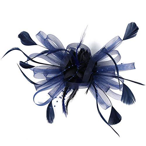 iYmitz Haarschmuck Haarreif eleganter Fascinator mit Federn Blumen Kopfbedeckung Braut Hochzeit(Marine)