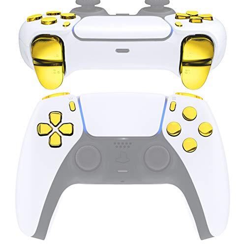 eXtremeRate Repuesto D-pad R1 L1 R2 L2 Disparadores de opciones para compartir botones faciales para controlador DualSense 5 PS5, juego completo de botones de reparación de oro cromado con herramienta para mando Playstation 5