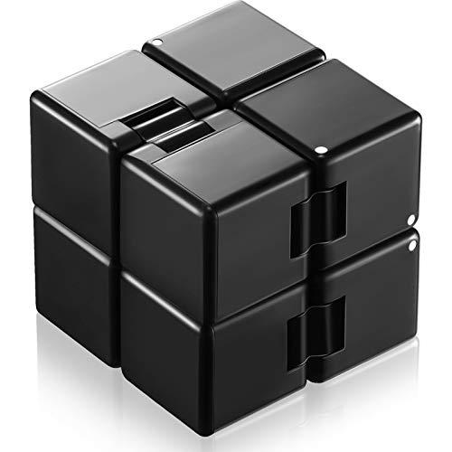 Cubo Infinito Juguete Inquieto EDC Mini Juguete de Dedo de Persona Agitada, Juguetes de Twister de Muñeca de Mano de Cubo de Rompecabezas 3D para Alivio de Estrés Matar Tiempo (Negro)