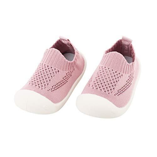 Bebé Infante Niñas Zapatos de Primeros Pasos Volar Tejida Zapatillas Calzado Deportivo Casual para Pies Anchos Antideslizante Respirable Ultra-Ligero - Talla del Fabricante 19 Rosa Viejo