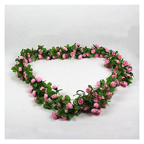 ERLIZHINIAN 5 unids/Bolsa 2m Falso Artificial pequeño Rosa Flores Vid Hiedra Hoja Guirnalda té Floral hogar Navidad decoración de la Boda (Color : Pink)