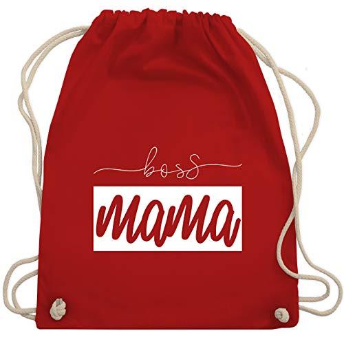 Shirtracer Partner-Look Familie Mama - Boss Mama - Partnerlook - Unisize - Rot - Spruch - WM110 - Turnbeutel und Stoffbeutel aus Baumwolle