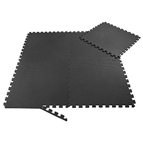 SAMAX Schutzmatten Set - 8 Puzzlematten Sport- und Fitnessmatten 60x60 cm Bodenschutzmatten vor Kälte oder Flüssigkeiten - Unterlegmatten für Fitnessraum Keller Garage Sport Geräte - Trainingsmatten