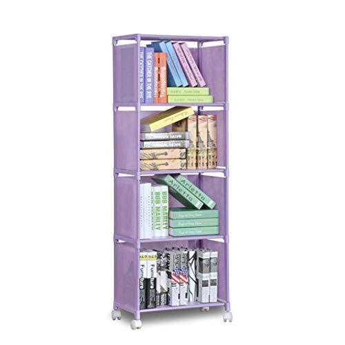 DUOER-librería Compartimiento de Almacenamiento de 4 estantes Estante Compartimiento de Ropa Organizador Estantería for la Sala de Estar, Dormitorio, Cada Estante Puede Contener 5 kg (Color : Purple)