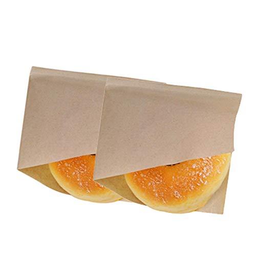 Dosige 100PCS Bolsa de Papel para Envolver,Bolsa de Papel triángulo,Bolsa de Papel Kraft,Caja de Comida desechable para Pan, Hamburguesa, Pastel Size 15 * 15CM (Marrón Claro)