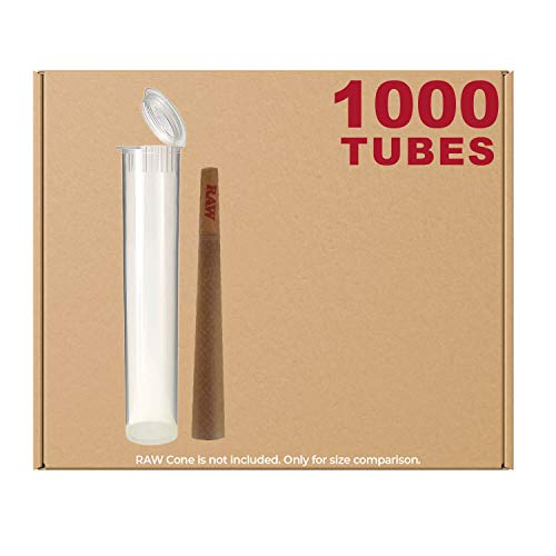 W Gallery 120MM Clear Doob Tube | 1000 Pack | Waterproof Airtight & Smell Proof Blunt Vial Container | Child Resistant w/ Squeeze Pop Tops | BPA-FREE | Ideal for Storing King Size Pre Rolled Raw Cones