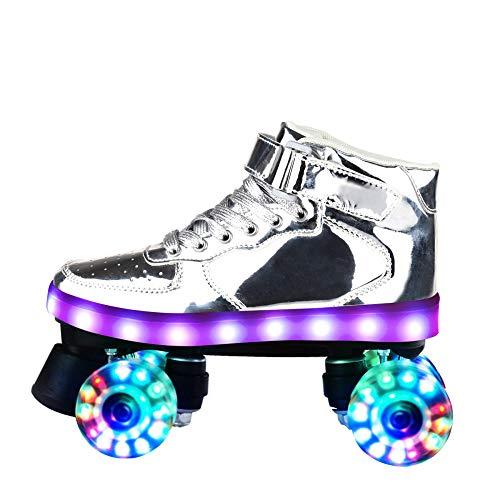 Longxs Junge Mädchen, Eisbahn professionelle Coole LED blinkende Rollschuhe Zweireihige Rollschuhe Erwachsenensport für Mädchen und Jungen-37