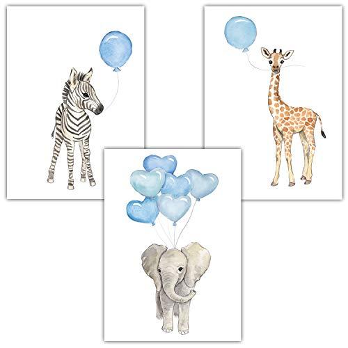 Frechdax® 3er Set Kinderzimmer Wandbilder | Kinderzimmer Junge Dekoration | Babyzimmer Junge (3er Set Blau, Elefant, Giraffe, Zebra)