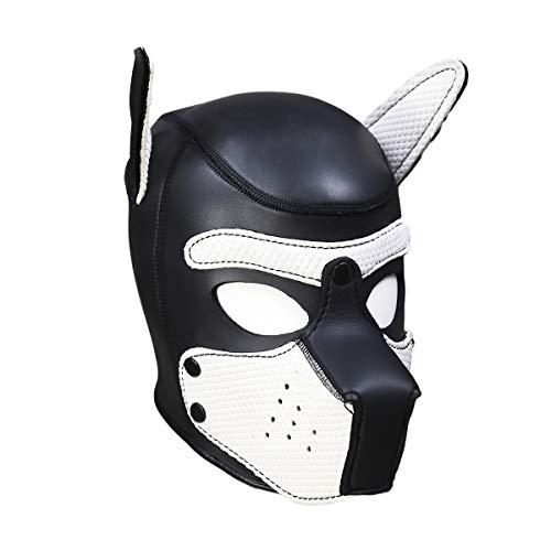 Geagodelia Halloween-Kostüm, gepolstert, aus Latex, aus Gummi, Role Play Dog Mask Puppy Cosplay Vollkopf mit Ohren in 10 Farben, Weiß M