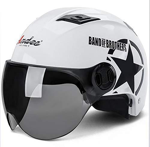 XTGFDC Motorradhelm, Universalgröße Atmungsaktiv Damen Und Herren Jet-Helm Scooter-Helm ECE Genehmigt, Mattschwarz, Weiß, Pink (56-62Cm),White