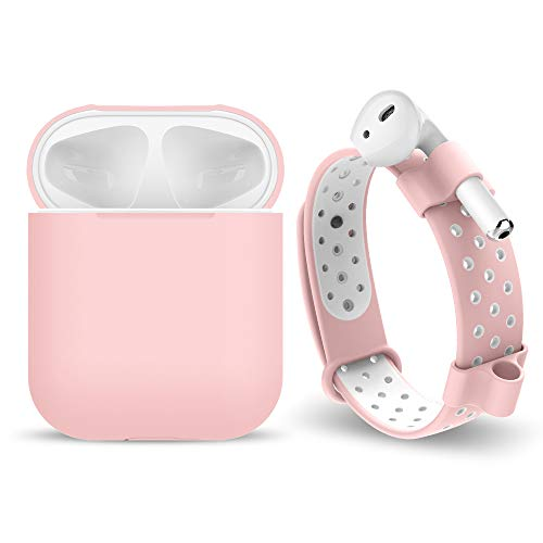 Darangs Compatible for AirPods Protective Case, Adjustable Silicone Watch Band + Anti-Lost AirPods Holder Compatible Apple AirPods Earphone, Pink