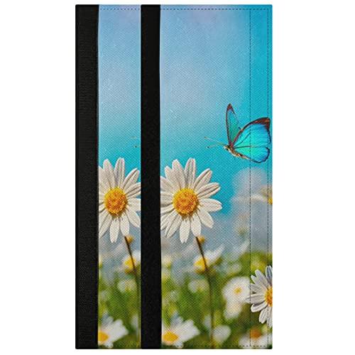 Oarencol Juego de 2 fundas para manija de puerta, diseño de margaritas de mariposas, color blanco, decoración para frigorífico, horno y lavavajillas
