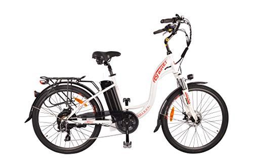 DJ City Bike 750W 48V 13Ah Step-Thru Power Electric Bicycle, Pearl White, LED Bike Light, Fork Suspension and Shimano Gear,