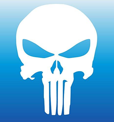 BOLDERGRAPHX 3015 Punisher Skull Die cut white decal 5.5'