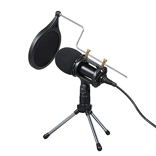 Staright Micrófono de Condensador con Cable o de 3.5 mm Studio Mic Grabación Vocal KTV Karaoke Mic con Soporte para PC Phone