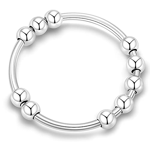 Sterling Silver Anxiety Ring for Women Fidget Rings for Women Anxiety Ring with Beads Stress Relief Gifts Spinning Ring Size 9