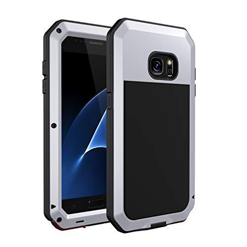 seacosmo Galaxy S7 Hülle, Aluminium Doppelte Schutz Handyhülle Samsung Galaxy S7 Outdoor Stoßfest Ganzkörper Schutzhülle mit eingebauter Displayschutz für Samsung S7, Silber