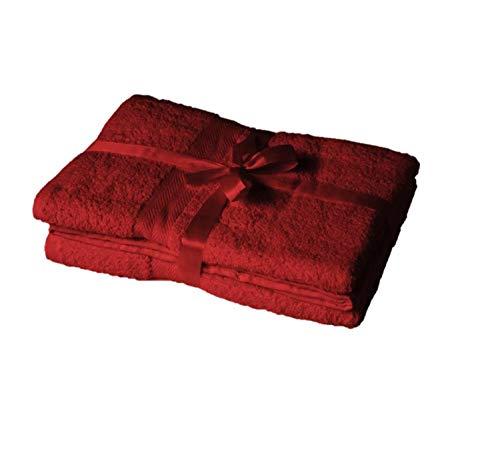 EXKLUSIV HEIMTEXTIL Exclusivo Tejido térmico Serie de Toallas en Juego con Lazo Tumbona de jardín Silla de Marca, Rojo, Badetuch 2er Set 100 x 150 cm