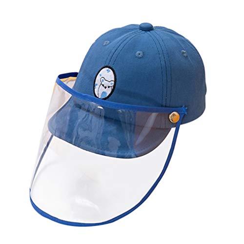 BESPORTBLE Kinder Gesichtsschutz Visier Staubdicht Windschutz Kinder Schutzkappe Abnehmbar Visier Sonnenschutz Hut für Baby Kleinkinder Blau