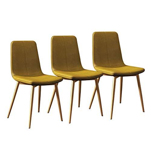 LSRRYD Moderne eetkamerstoelen keukenstoel 3-delige set lounge barkruk met PU-leer comfortabele zitting metalen poten voor woonkamer slaapkamer kantoor café geel