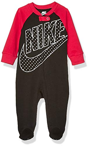 Nike Baby Sportswear Graphic Footed Coverall, Black/Rush Pink, 9M