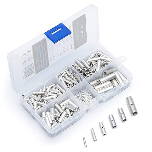 Wirefy 200 Stk. Stoßverbinder unisoliert - Butt-Connectors - Kabel crimp Verbindung nicht isoliert im Set - 0,25-10mm²