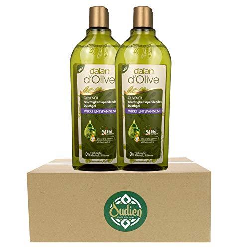 OUDIEN 2er Set dalan d'Olive Duschgel je 400ml, entspannende Pflegedusche mit Olivenöl, feuchtigkeitsspendendes Naturduschgel
