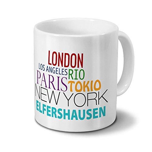 Städtetasse Elfershausen - Design Famous Cities of the World - Stadt-Tasse, Kaffeebecher, City-Mug, Becher, Kaffeetasse - Farbe Weiß