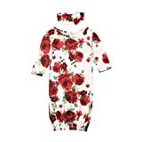 Newborn Infant Baby Girl Floral Print Cotton Sleeper Gown with Headband Outfits (White(Red Rose), 0-3 Months)