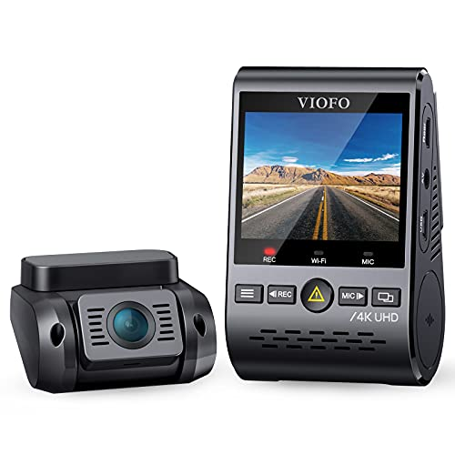 VIOFO 4K Dual Dash Cam A129 Pro Duo 3840 * 2160P Ultra HD 4K Dash Camera Sony 8MP Sensor GPS Wi-Fi, Buffered Parking Mode, G-sensor, Motion Detection, WDR, Loop Recording