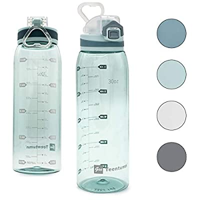 Teentumn 30oz Sport Water Bottle with Time Markers, Large Durable Gym Clear Plastic Bottle Tritan BPA Free for Fitness, Outdoor Enthusiasts, Leakproof Green