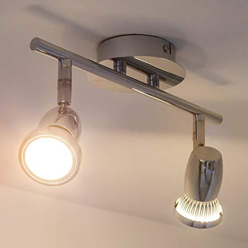 Lindby LED Deckenleuchte 'Arminius' (Modern) in Chrom aus Metall u.a. für Wohnzimmer & Esszimmer (2 flammig, GU10, A+, inkl. Leuchtmittel) - Lampe, LED-Deckenlampe, Deckenlampe, Wohnzimmerlampe