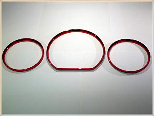 FeiNianJSh SY-Decorative, Chrome Tachometer Messuhr Ringe Lünette Trim Chrom Tacho Ringe for Mercedes Benz W210 00-02 / W202 00-02 (Color : RED)