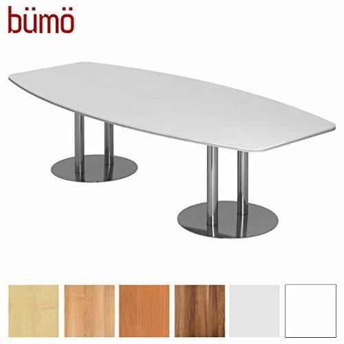 BÜMÖ Konferenztisch rund oval 280 x 130 in Weiß | Besprechungstisch mit Chromsäulen | Hochwertiger Meetingtisch