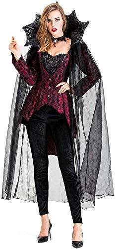 Vestido Largo De Gasa De Encaje con Capucha De Vampiro para Mujer Disfraz De Bruja Negra Fantasma De Muerte Disfraz De Vampiro Reina Disfraz De Cosplay Uniforme De Juego Divertido,S