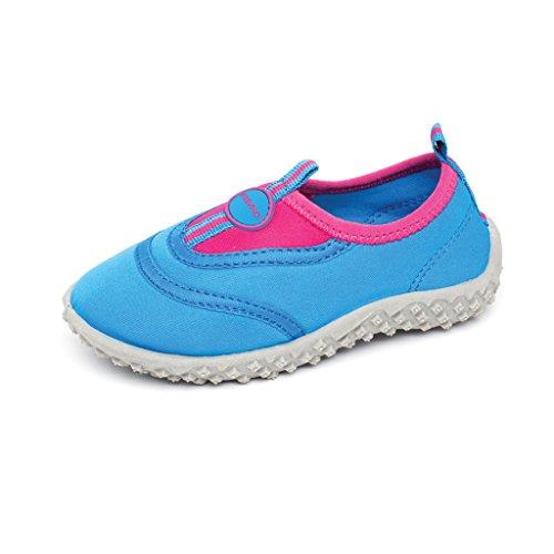 Fresko Toddler Water Aqua Shoes, Girls T1030, Blue/Fuchsia, 6 M US Toddler