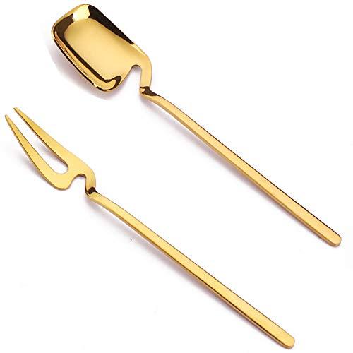 wersdf cucharas canapes Cuchara de Postre Café con Leche cucharas Mucho Tiempo Los Amantes del café Regalo Cuchara de té Cuchara de Postre Bar Cuchara Gold,Spoon&Fork